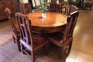 凭祥匠心居红木家具缅甸花梨精品圆餐桌