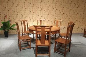 刺猬紫檀1.38米明式园台配8椅