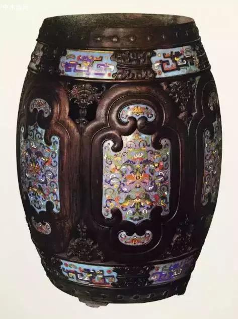 紫檀嵌珐琅绣墩
