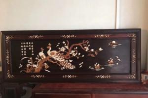 大红酸枝挂匾-镶嵌工艺 尺寸:153x59.5-独板