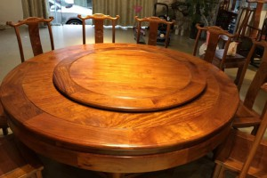 精美缅甸花梨红木家具,园餐桌椅180直径配10椅,现货优惠价