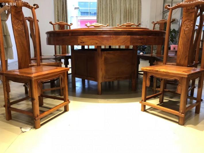 缅甸花梨木园餐桌椅厂家今日最新报价