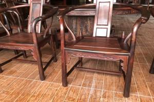 大红酸枝腰形茶台6件套高清图片