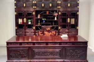 赞比亚血檀_非洲小叶紫檀清式书柜办公桌组合