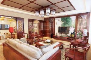 客厅摆红木沙发电视背景墙怎么配?