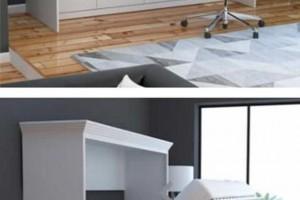 本以为墨菲床很节省空间了,没想到床底还装了连体书桌,一床两用