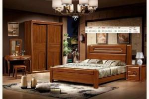 金丝胡桃木套房大床衣柜