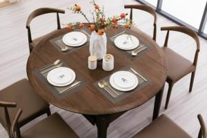 精品实木多功能伸缩餐台餐桌椅直径1.35米