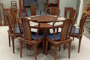 刺猬紫檀圆餐桌椅子厂家直销