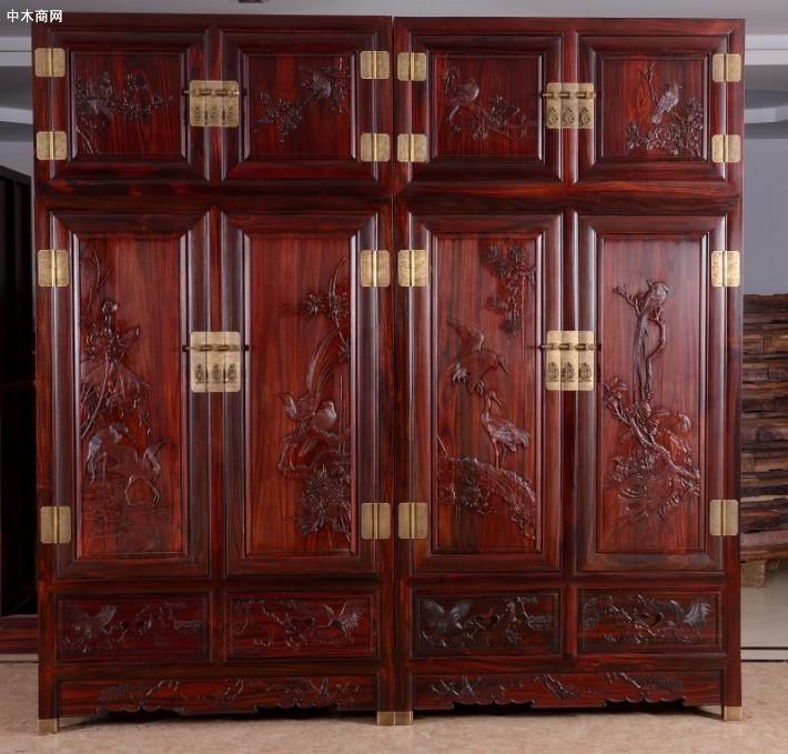 印尼黑酸枝木新中式红木家具双面柜