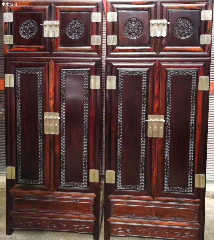 老挝红酸枝木新中式红木家具双面柜