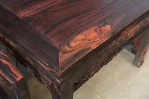 老挝大红酸枝老料中堂6件套长条案四方桌中堂油性十足