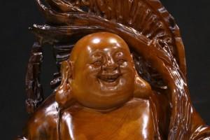 楠木根雕摆件招财进宝实木工艺品人物弥勒佛风水装饰品