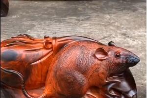 精品老挝大红酸枝老鼠工艺品「代代数钱」实物高清视频