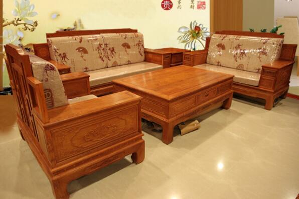 缅甸花梨沙发6件套