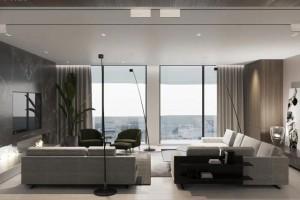 现代家居室内设计通过胡桃木与大理石结合碰撞出极致奢华的装修氛围