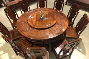 红木圆餐桌一套六椅子价格大概多少?