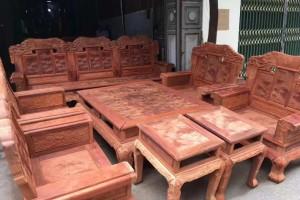缅甸花梨木沙发水波纹国色天香六件套高清细节图片视频