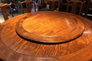缅甸花梨木园餐桌实物细节视频