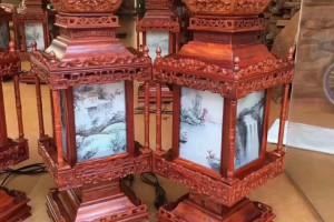 赞比亚紫檀宫灯生产厂家,尺寸:24*24*63