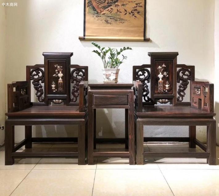 凭祥老挝大红酸枝椅子黑红料高清细节图片及价格