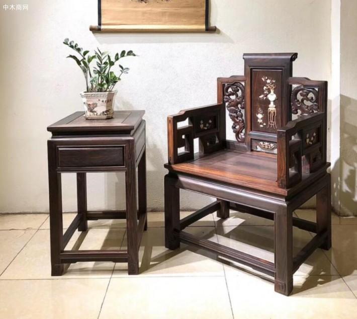 广西凭祥市浦寨龙之涵红木家具店凭祥老挝大红酸枝椅子黑红料高清细节图片及价格
