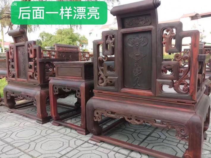 大红酸枝交趾黄檀莲花宝座沙发13件套生产厂家批发价格批发