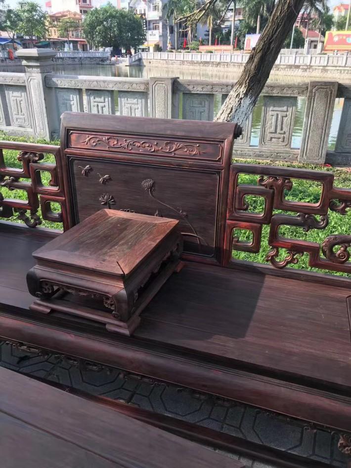 大红酸枝交趾黄檀莲花宝座沙发13件套生产厂家批发价格供应