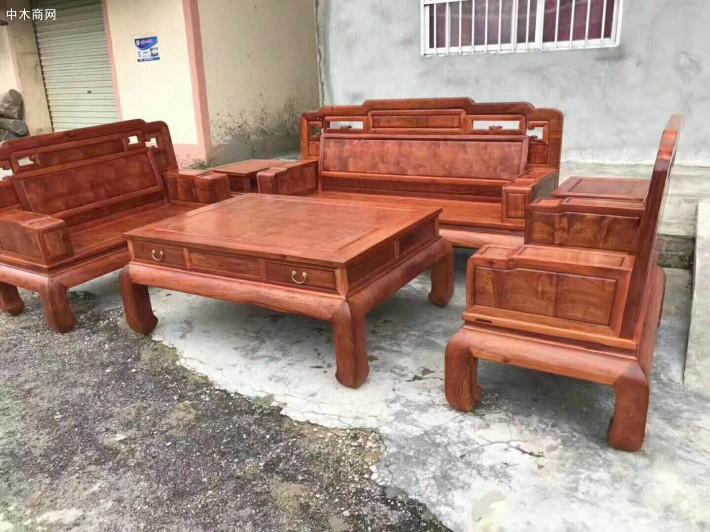 缅甸花梨木国色天香沙发六件套厂家直销品牌