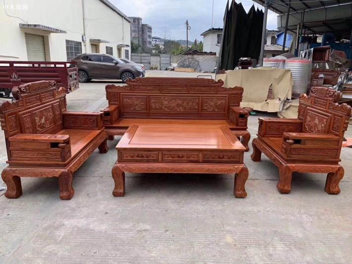 缅甸花梨财源滚滚沙发六件套生产厂家批发