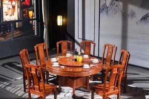 红木家具圆餐桌价格,一桌六椅需要多少钱一套?
