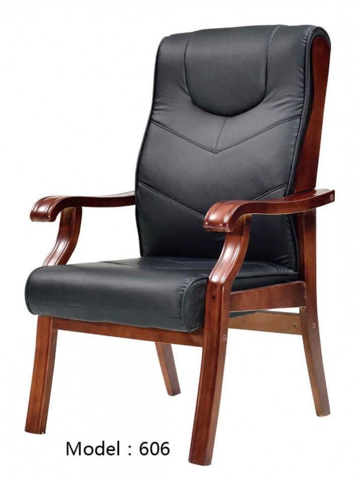 皮质木扶手座椅606
