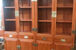 缅甸花梨木书柜高清视频