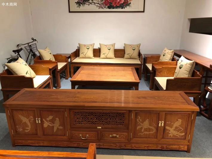 缅甸花梨木六件套独板沙发价格多少钱一套