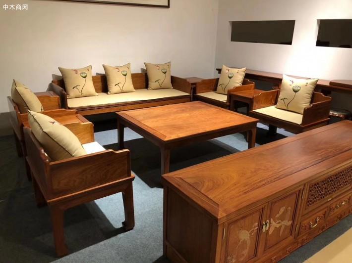缅甸花梨木六件套独板沙发价格多少钱一套图片
