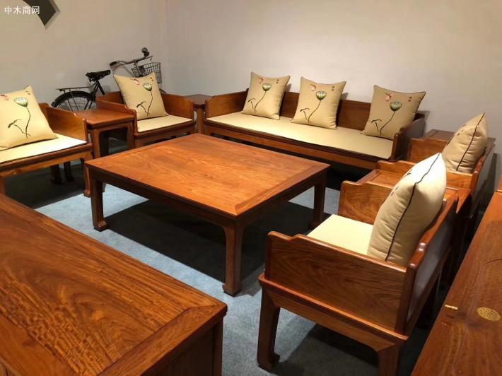 缅甸花梨木六件套独板沙发价格多少钱一套报价