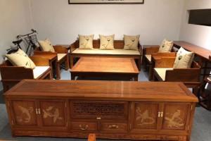 缅甸花梨木六件套独板沙发价格多少钱一套?