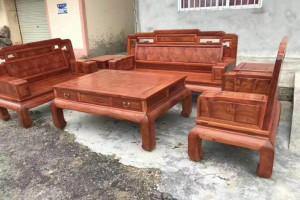 缅甸花梨木国色天香沙发六件套厂家直销