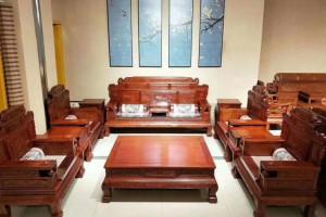 缅甸花梨木红木家具客厅沙发多少钱一套