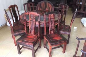 大红酸枝圆餐桌椅红木家具高清图片欣赏