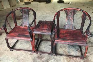 大红酸枝皇宫椅圈椅三件套价格图片