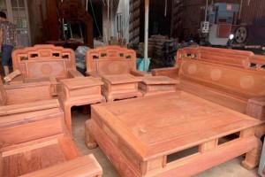 缅甸花梨国色天香毛胚沙发十件套现货供应