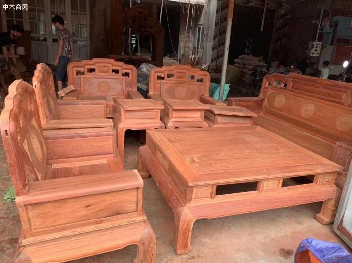 缅甸花梨国色天香毛胚沙发十件套现货供应价格