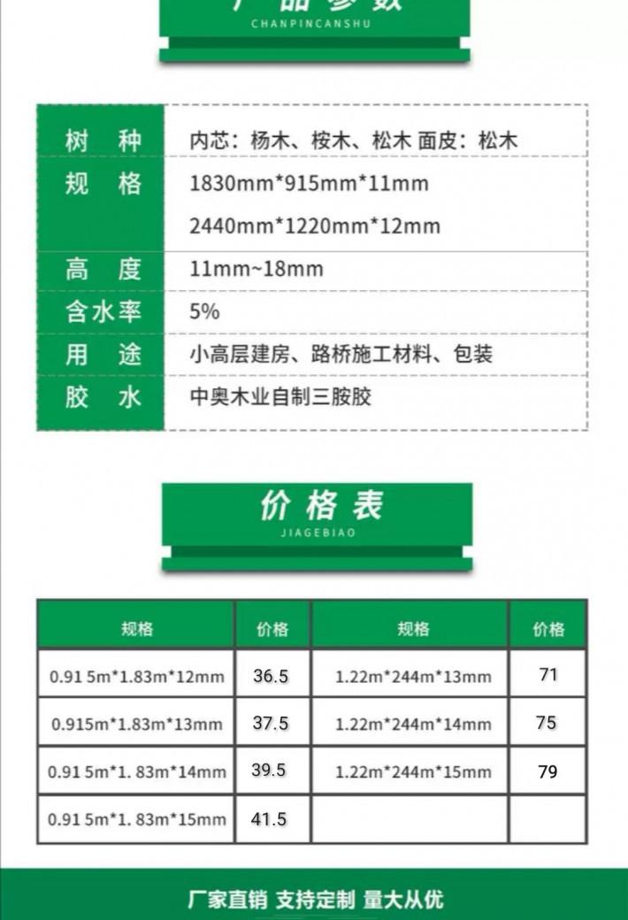 全整芯松杨结合酚胶面建筑模板防水耐用适用于高层桥梁包装厂家
