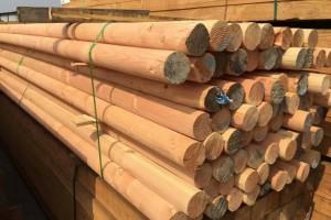 花旗松防腐木实木进口松木立柱圆柱木柱子古建原木半圆柱户外凉亭