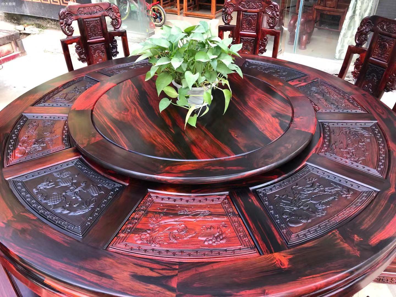 凭祥匠心居老挝大红酸枝象头餐桌椅高清图片