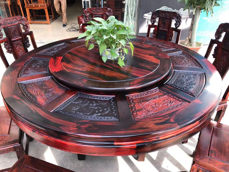 凭祥匠心居老挝大红酸枝象头餐桌椅高清图片价格