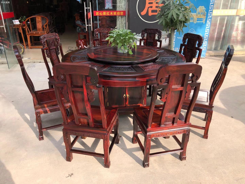 凭祥匠心居老挝大红酸枝象头餐桌椅高清图片厂家