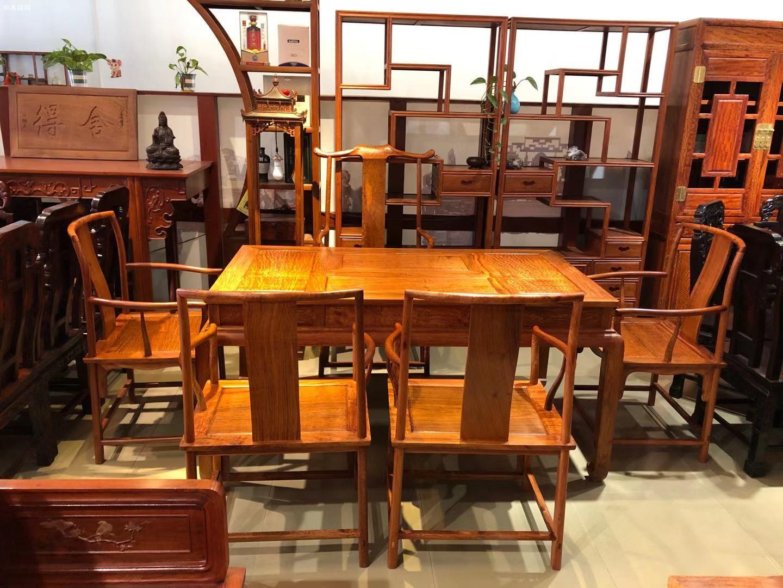 凭祥匠心居老挝大红酸枝象头餐桌椅高清图片采购