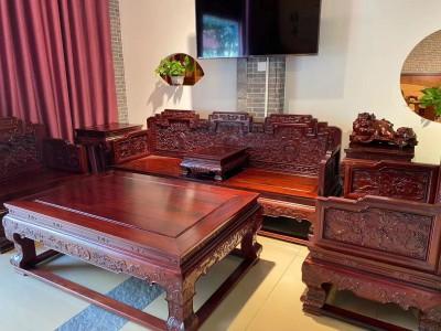顶级花枝宝座沙发113七件套手工雕刻精雕细琢珍藏品